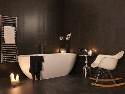 Swish Marbrex Anthracite Large Tile Effect Bathroom Wet Wall Cladding Panels PVC