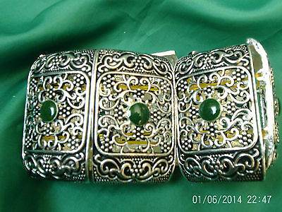 Moroccan Berber Ethnic Jewelry: Bracelet Silver coloured Expandable Green NEW