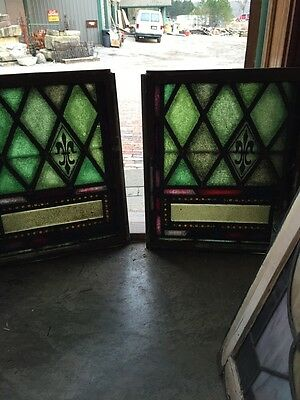 Sg 327 Two Matching Antique Fluer De Lis Windows In Cast-Iron Frames
