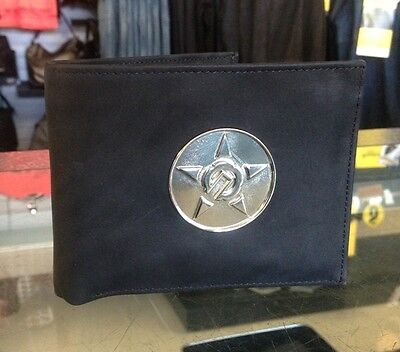Unit Mens Wallet Conture Black With Silver Hardware Skate Mx Styled Leather
