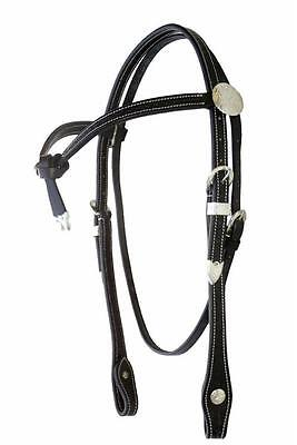 Black Basket Weave Leather Western Knot Bridle with Reins Cob, Full Size