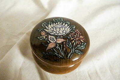 Handpainted Vintage Treen Trinket Pot with Image of African Wild Flowers