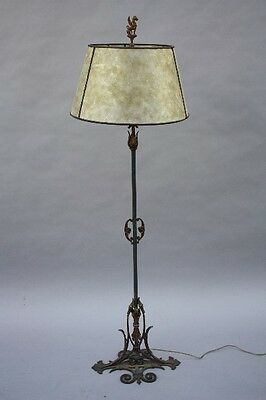 1920s Floor Lamp Griffin Finial White Mica Shade Antique Light Vintage (8770)