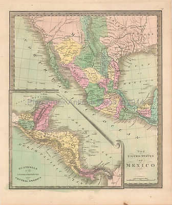 United States Mexico Antique Map Greenleaf 1844 Original