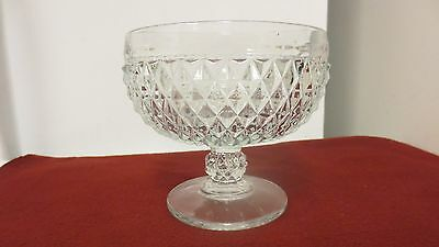 Older Indiana Glass USA marked Pedestal Compote-Clear Diamondpoint