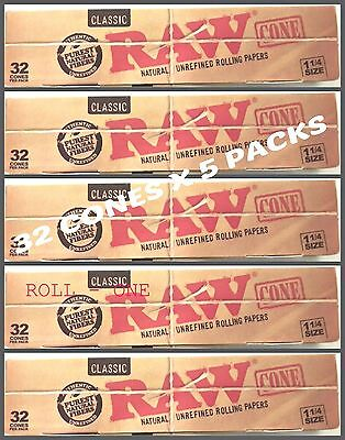 RAW 5 PACKS of BOX 32 CLASSIC CONES PRE ROLLED KING SIZE OR MED 1 14 GOOD PRICE