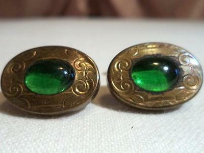 Antique Vintage Green Glass Repousse Floral Gold Filled Cufflinks