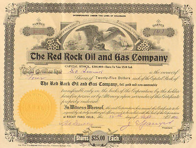 The Red Rock Oil and Gas Company   1920 Colorado Rocky Ford stock certificate