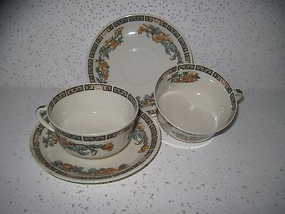 2 Vintage Syracuse China OP Co Indian Tree Orange Cups & Saucers Old Ivory Cream