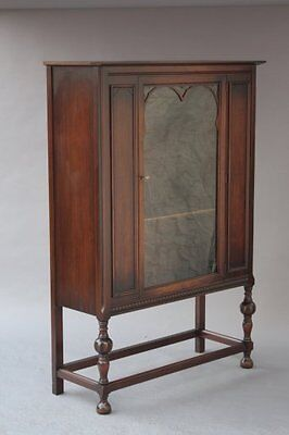 1920s Bookcase Cabinet Walnut Wood Antique Glass Spanish Revival Cupboard (7424)