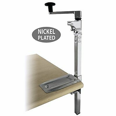 "BOJ Commercial Grade Can Opener Heavy Duty Table Mount 19"" (Nickel Plated)"