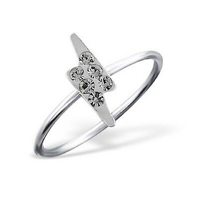 GENUINE 925 Sterling Silver Small Thunderbolt Crystal Girls Kids Ring Us Size 3