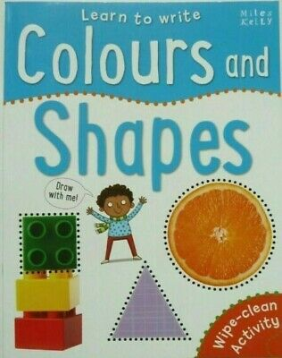 Learn to Write COLOURS and SHAPES Wipe Clean book (New Edition) Pen Included!!!!