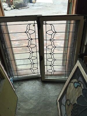 Sg 321 A Matched Pair Antique Flat Glass Leaded Transom Windows