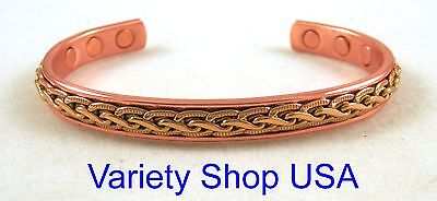Pure Copper Magnetic Therapy Designer Cuff Adjustable Bracelet CM17