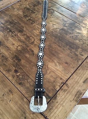Girls Belts/ Nocona Belt Co black Leather Studded Belt