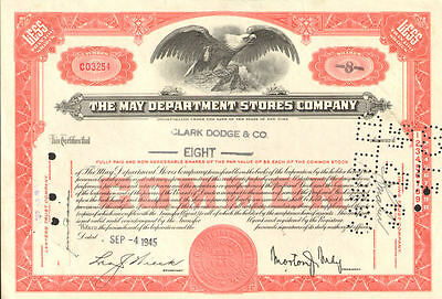 MAY DEPARTMENT STORES stock certificate   now Macy's