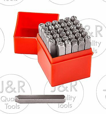 "1/4"" 36pc Letter & Number Stamp Punch Set 6mm Hardened Steel, Metal Wood Leather"