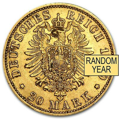 Germany 20 Mark Prussia Gold Coin - Random Year