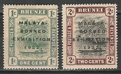 Brunei 1922 Malaya Borneo Exhbition  1C And 2C