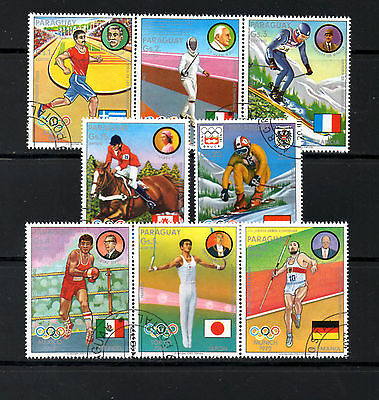 (Ref-5939) Paraguay - Olympic Champions Winter/Summer  Set of 8   Used (C.T.O)