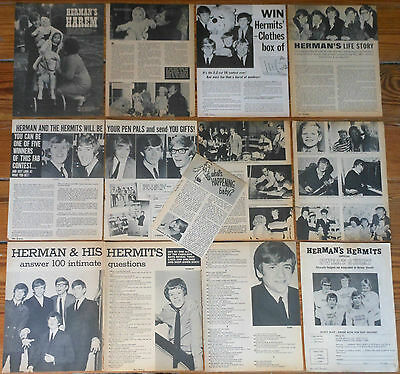 HERMAN'S HERMITS USA clippings 1960s photos magazine articles