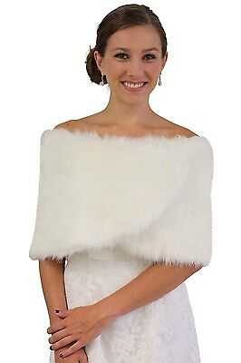Tion Bridal Women's Faux Fur Wrap One Size, Ivory