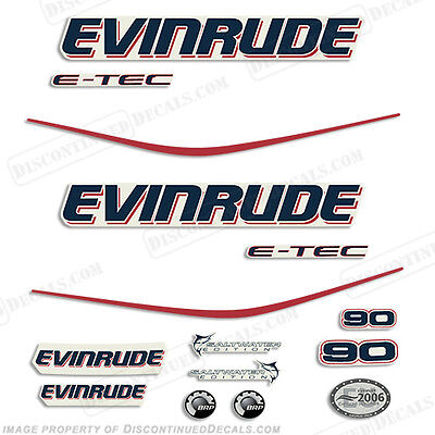 Evinrude 90hp E-Tec Outboard Decal Kit - 2010 Engine Stickers
