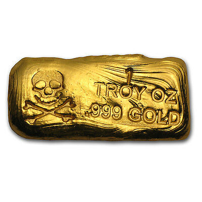 1 oz Gold Skull & Bones Bar - Hand Poured Gold Bar - SKU #78563