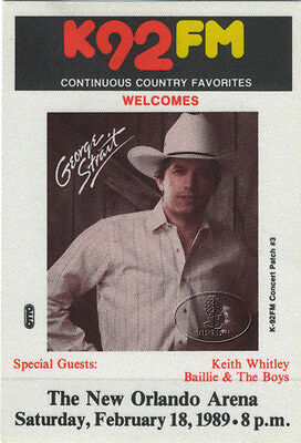 GEORGE STRAIT Keith Whitley 1989 Radio Promotional Backstage Pass Orlando