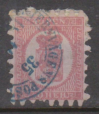 (OI-60) 1866 Finland 40 PEN pink on lilac (round corner)