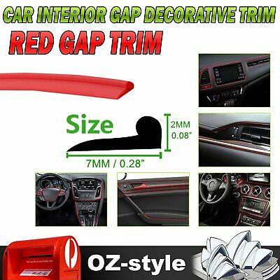 Car Edge Gap Trim Red Line Interior Moulding Accessory Ornament Garnish Decor 3M