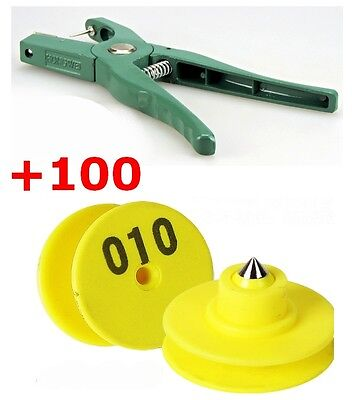 Sheep Goat Pig Cattle Beef Cow Ear Tag Plier Applicator Puncher Tagger + 100 Set