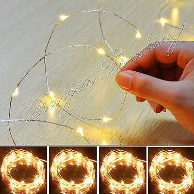 20-100 Led Battery Operated Micro Wire String Fairy Xmas Party Wedding Light