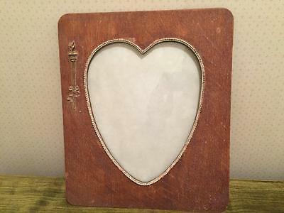 Antique Wooden Heart Shaped Picture Frame Arts Crafts Era e.1900's w Torch