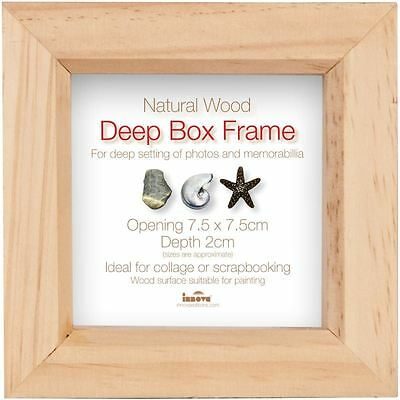 Innova Editions Natural Wood Deep Box Frame 7.5 x 7.5 cm Display Picture Photo