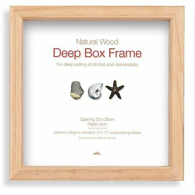 Innova Editions Pine Wooden Deep Box Picture Photo Frame Shadow 30 x 30 cm