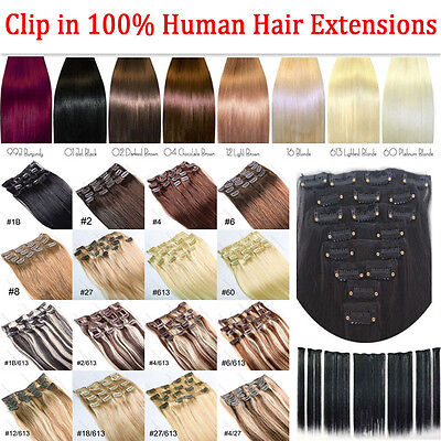 """New 15""""18""""20""""22"""" Clip in 100% Remy Human Hair Soft Extensions Full Head Straight"""