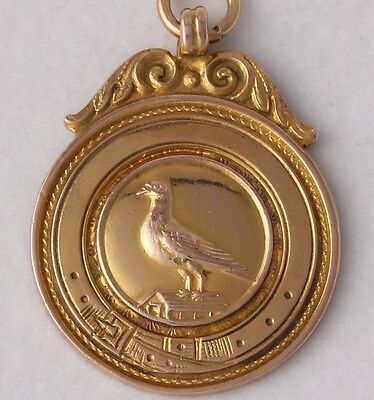 9ct Carat Gold Pigeon Racing Medal Medallion Fob Everton & Crowther Winner 1936