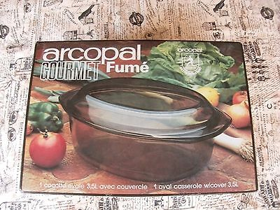 NOS Arcopal Gourmet Fume oval casserole with cover 3.5L original box France