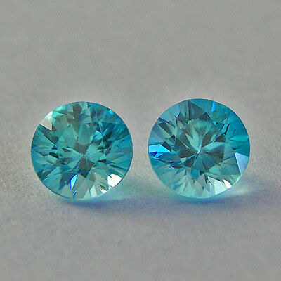 5.1mm Round Natural Cambodian Blue Zircon, Matching Pair - Total 1.44 Ct