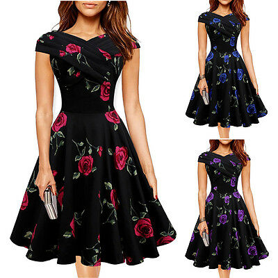 Women Vintage Style Boat Neck Floral 50s 60s Rockabilly Party Pinup Swing Dress