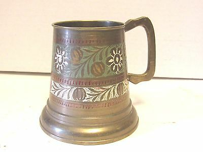Antique Brass Etched Stein Beer Mug Cup Glass Bottom Floral White Green Vintage