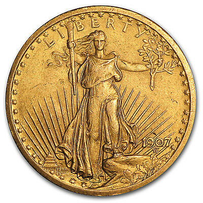 1907 $20 Saint-Gaudens Gold Double Eagle Pre-33 Gold Coin - Cleaned