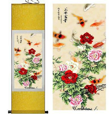 Chinese Silk Scroll Painting Gongbi Peony Flowers Fish Portraits Home Decoration
