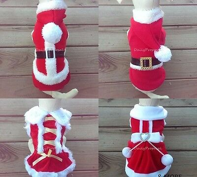 Christmas Small Dog Pet Clothes Mr. Ms. Santa Hoodie Dress Red Costume XS-2XL US