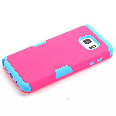 Covdo Hot Pink/Blue Rugged Hybrid Rubber Hard Case For Samsung Galaxy Note 5