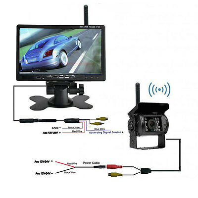 "Wireless Car Bus Rear View Kit 7"" LCD Monitor +Wide Night Reverse Parking Camera"