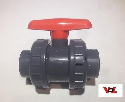 32mm VDL Tap PVC Metric Double Union Valve Marine Tropical Aquarium Pipework