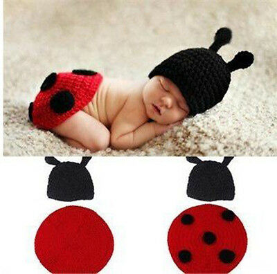 Newborn Baby Crochet Knit Ladybug Hat Cap Outfit Photography Props Costume